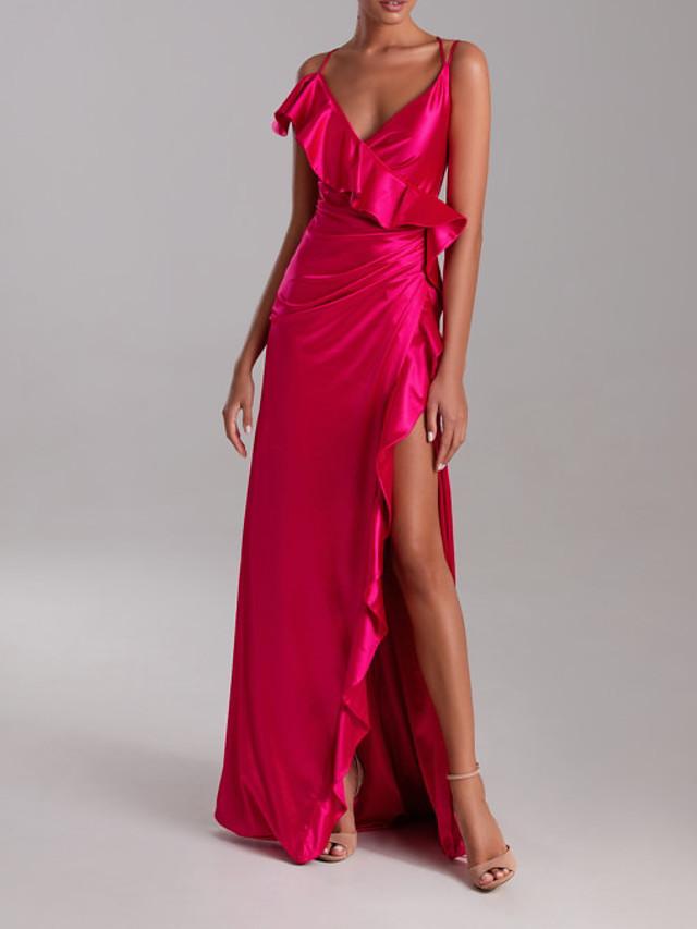Sheath / Column Sexy Pink Engagement Formal Evening Dress V Neck Sleeveless Sweep / Brush Train Polyester with Ruffles Split 2020