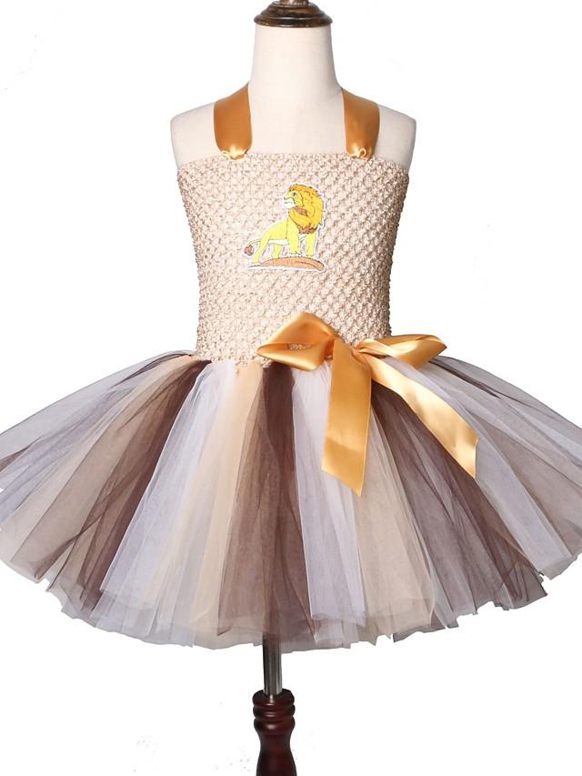 Children Girl Tutu Dress Cartoon Animal Cosplay Lion Costume Kids Carnival Birthday Party Dresses for Girls 2-12 Years Old