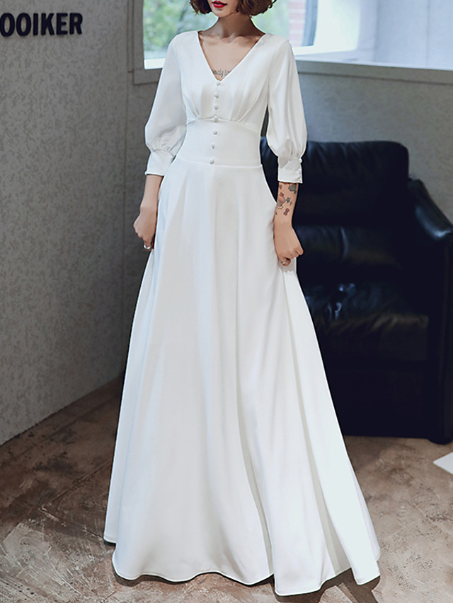 A-Line Elegant White Engagement Formal Evening Dress V Neck 3/4 Length Sleeve Floor Length Spandex with Buttons Pleats 2020