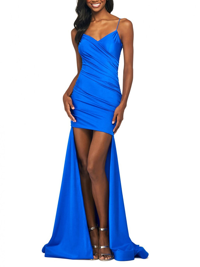 Mermaid / Trumpet Sexy Blue Party Wear Formal Evening Dress Spaghetti Strap Sleeveless Asymmetrical Polyester with Ruched 2020