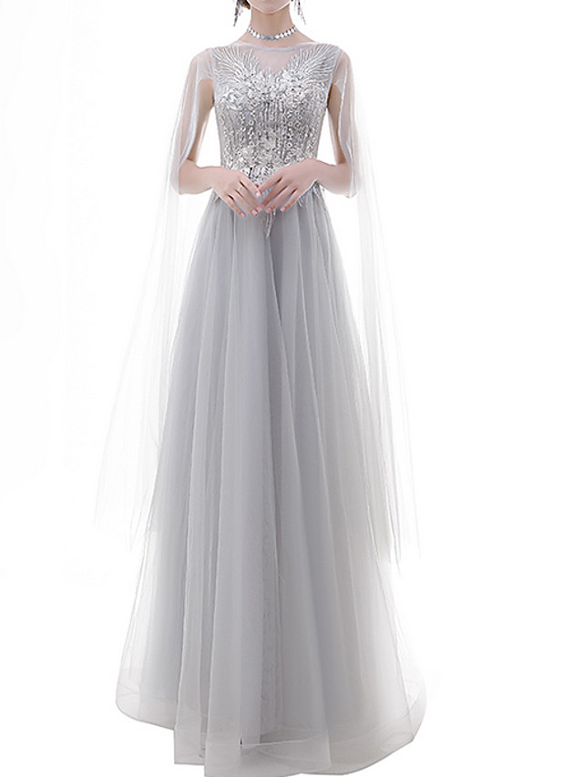 A-Line Luxurious Grey Engagement Prom Dress Jewel Neck Sleeveless Floor Length Polyester with Appliques 2020