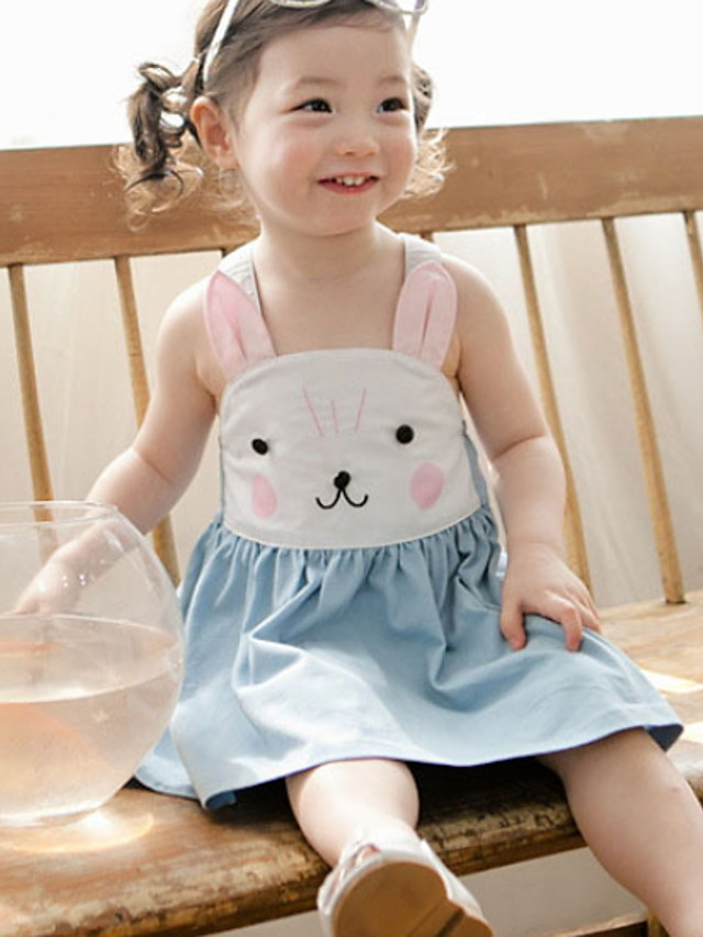 Kids Girls' Cartoon Dress Light Blue