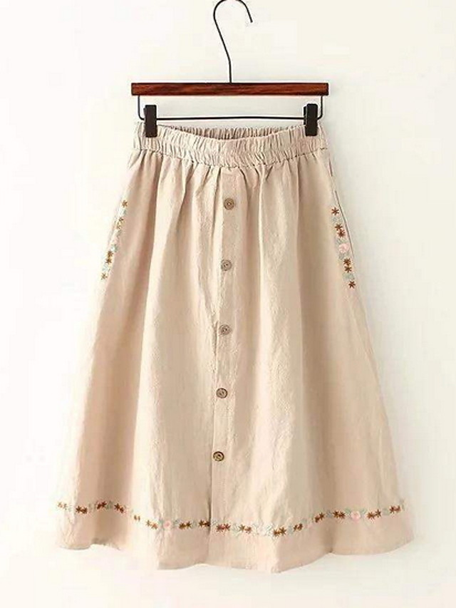 Women's A Line Skirts - Solid Colored Green White Beige One-Size