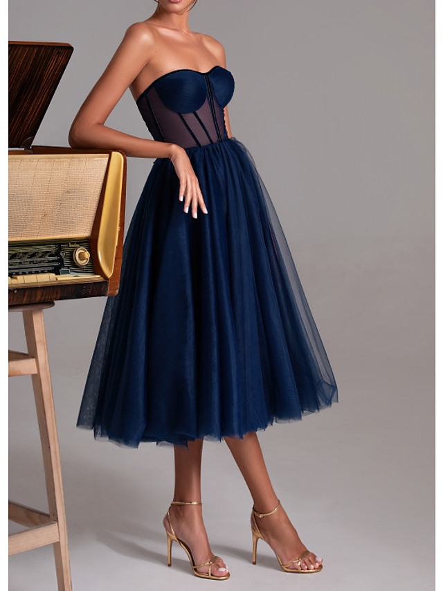 A-Line Sexy Blue Cocktail Party Prom Dress Sweetheart Neckline Sleeveless Tea Length Polyester with Pleats 2020