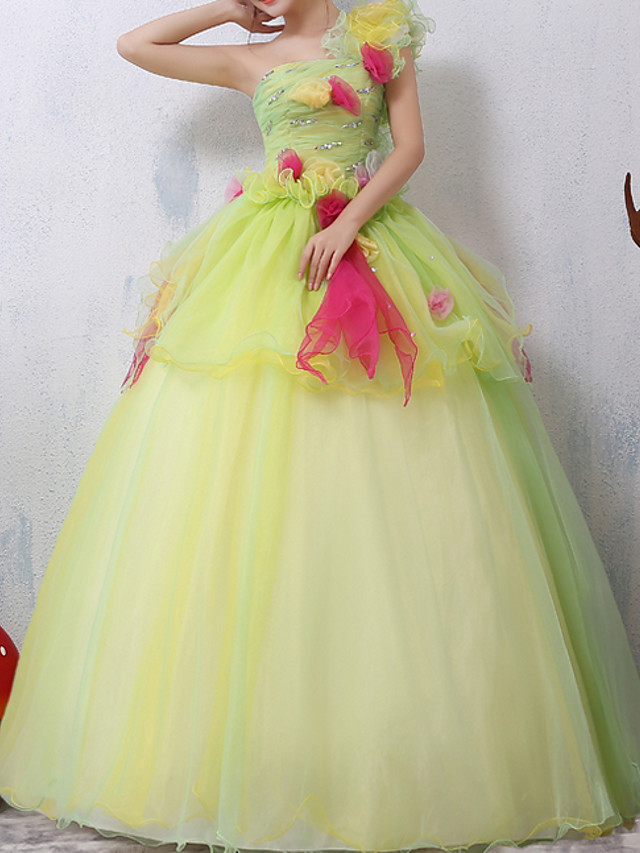 Ball Gown Floral Peplum Quinceanera Prom Dress One Shoulder Sleeveless Floor Length Lace with Sequin 2020