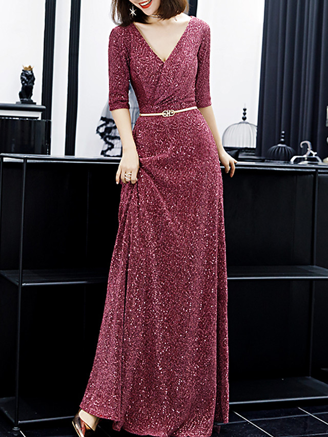 A-Line Glittering Pink Prom Formal Evening Dress V Neck Half Sleeve Floor Length Sequined Spandex with Sash / Ribbon Sequin 2020