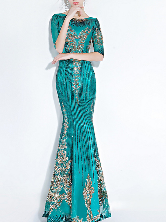 Mermaid / Trumpet Glittering Turquoise / Teal Engagement Formal Evening Dress Off Shoulder Half Sleeve Floor Length Polyester with Sequin Appliques 2020