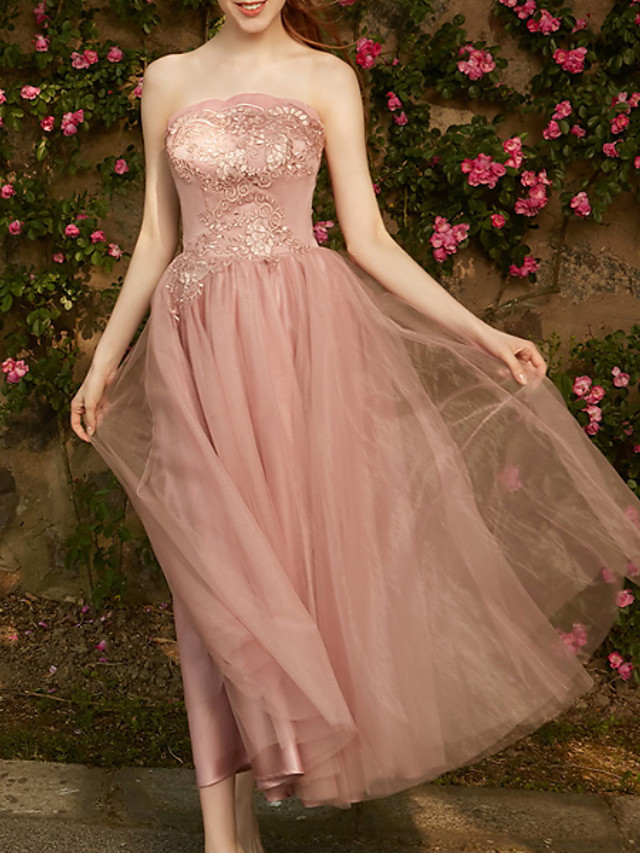 A-Line Strapless Ankle Length Chiffon Bridesmaid Dress with Tier