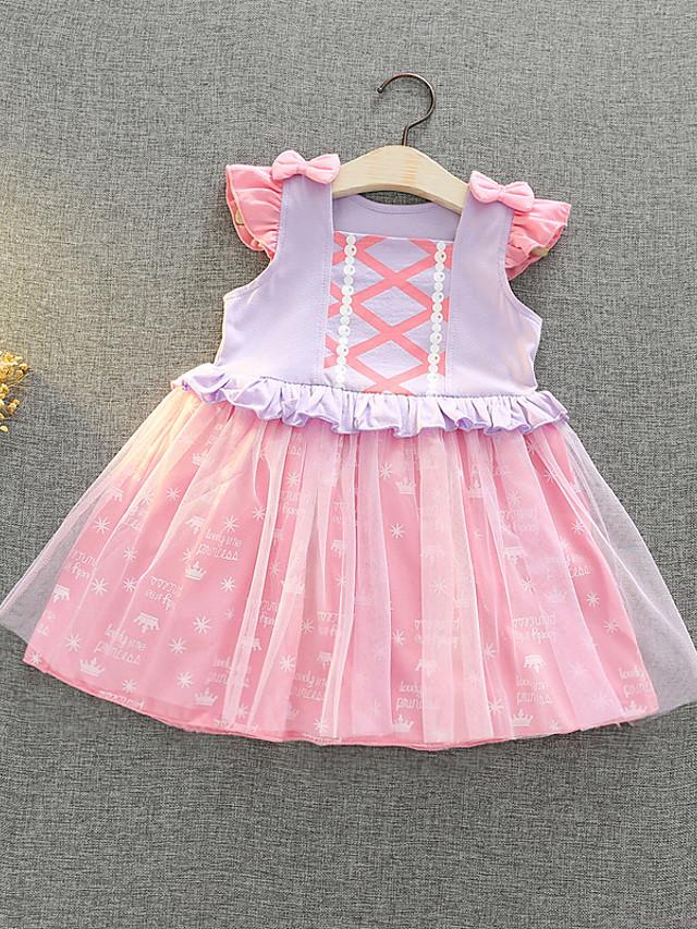 Kids Girls' Active Sweet Cartoon Bow Mesh Sleeveless Knee-length Dress Blushing Pink