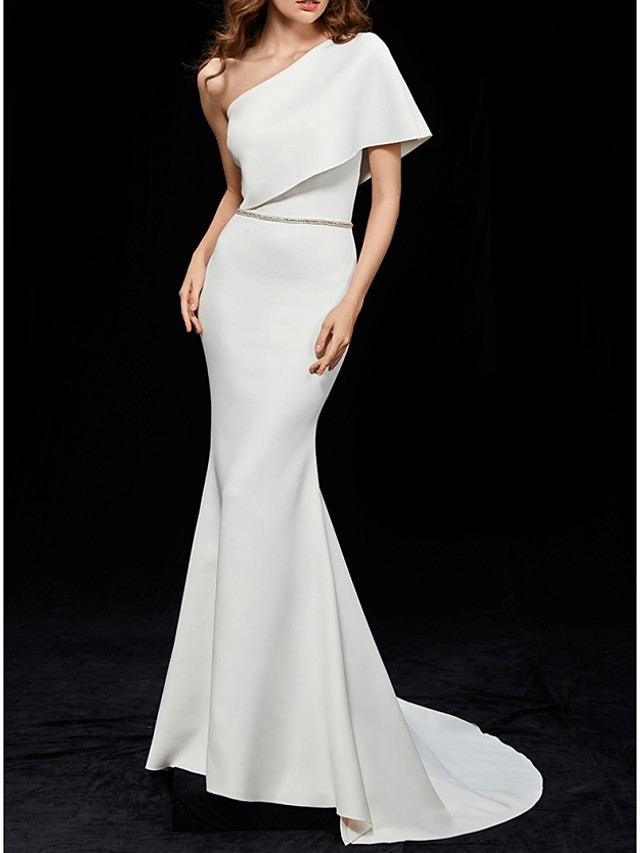 Mermaid / Trumpet Elegant White Engagement Formal Evening Dress One Shoulder Short Sleeve Sweep / Brush Train Polyester with Sleek 2020