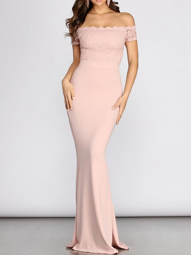 Mermaid / Trumpet Elegant Pink Engagement Prom Dress Off Shoulder Sleeveless Floor Length Lace Spandex with Appliques 2020