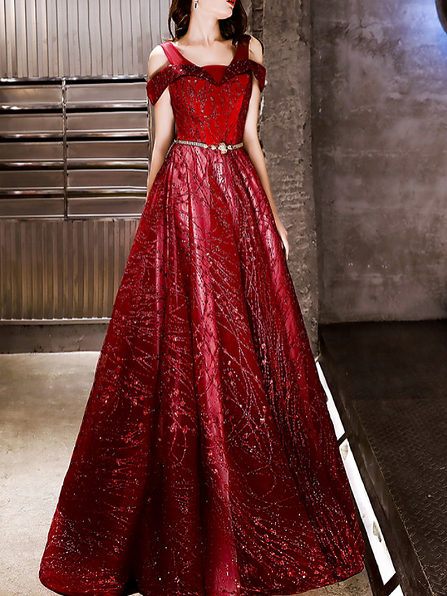 A-Line Sparkle Red Prom Formal Evening Dress Off Shoulder Sleeveless Floor Length Polyester with Sequin Appliques 2020