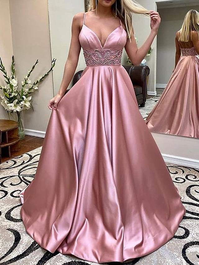 A-Line Elegant Pink Engagement Formal Evening Dress V Neck Sleeveless Sweep / Brush Train Charmeuse with Pleats Beading 2020