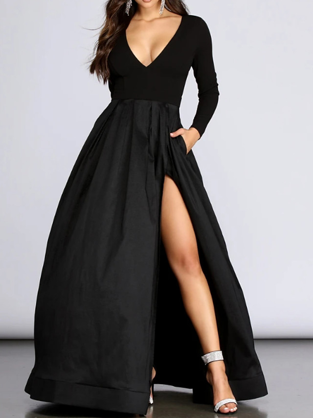 Ball Gown Elegant Black Prom Formal Evening Dress V Neck Long Sleeve Floor Length Spandex with Pleats Split 2020
