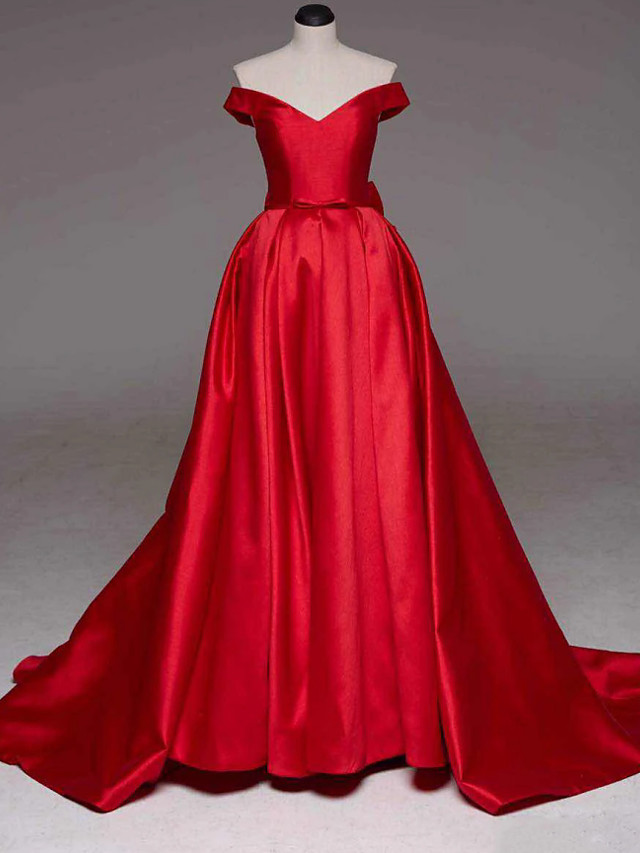 Ball Gown Sexy Quinceanera Formal Evening Dress Off Shoulder Sleeveless Court Train Satin with Bow(s) Pleats 2020