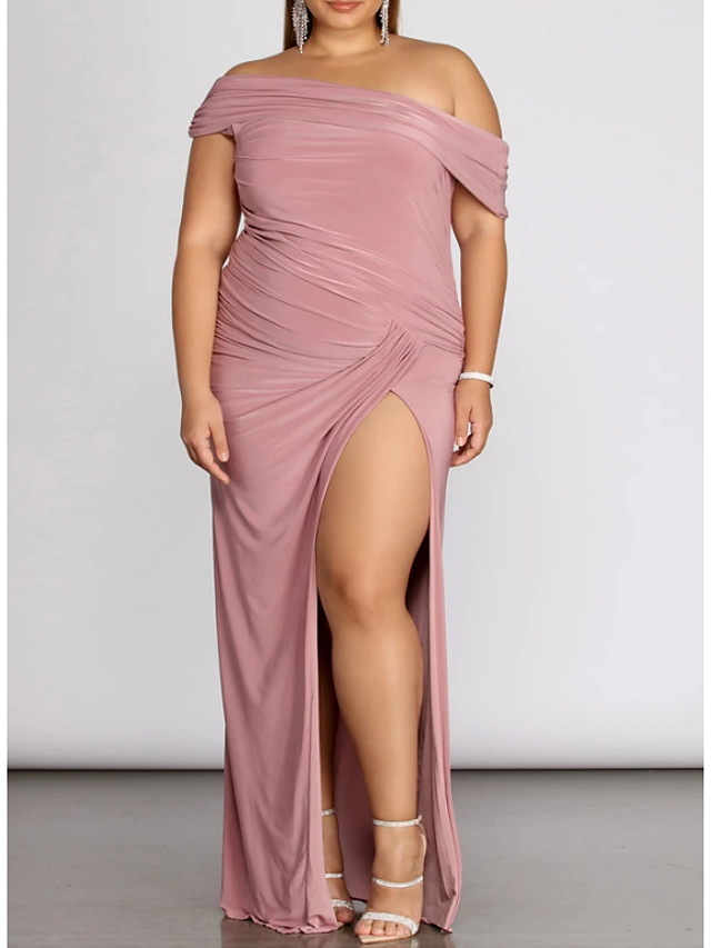 Sheath / Column Plus Size Pink Prom Formal Evening Dress One Shoulder Sleeveless Floor Length Spandex with Pleats Split 2020