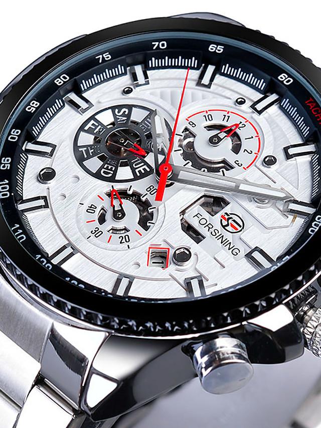FORSINING Men's Dress Watch Mechanical Watch Analog Automatic self-winding Three-eye Six-needle Classic Waterproof Dual Time Zones Large Dial