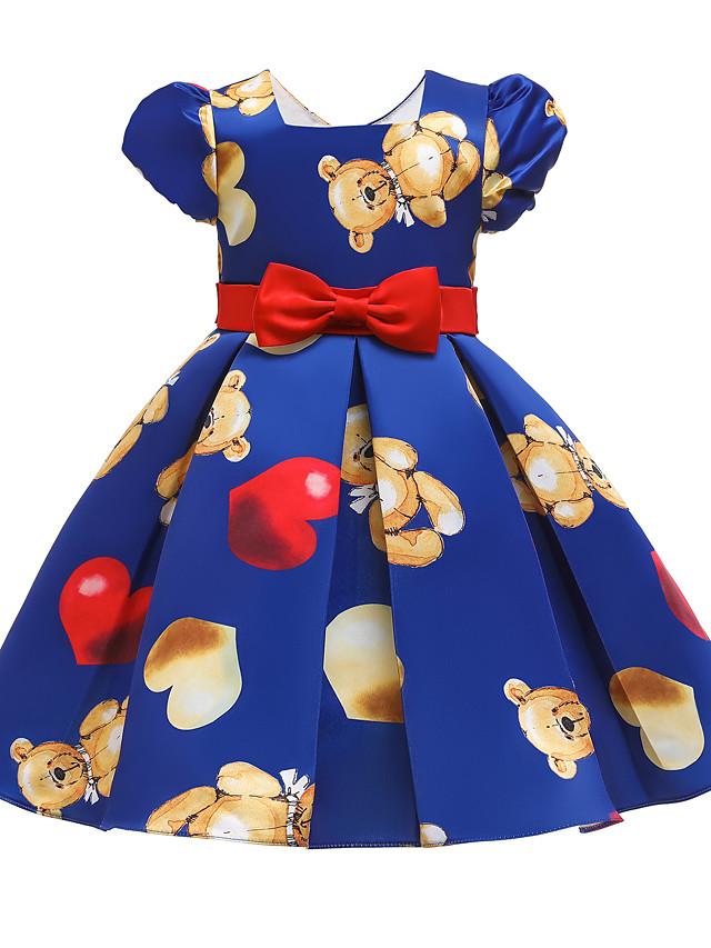 Kids Toddler Girls' Basic Cute Cartoon Print Short Sleeve Knee-length Dress Blue