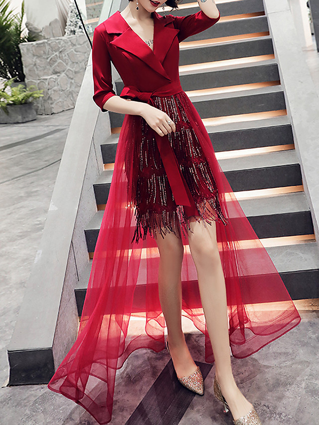 Sheath / Column Hot Red Party Wear Prom Dress V Neck Half Sleeve Asymmetrical Tulle Sequined with Sequin Tassel 2020