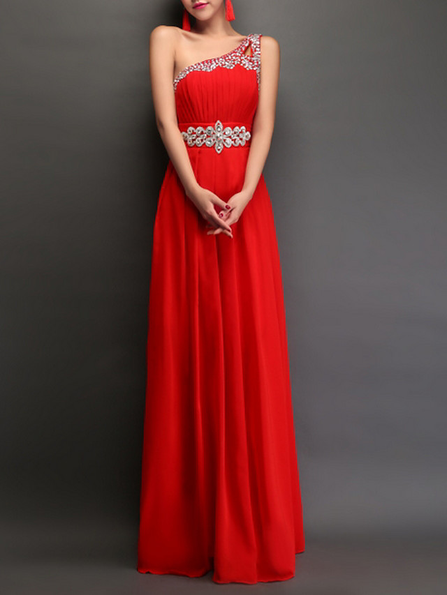 A-Line Empire Red Engagement Prom Dress One Shoulder Sleeveless Floor Length Polyester with Crystals 2020