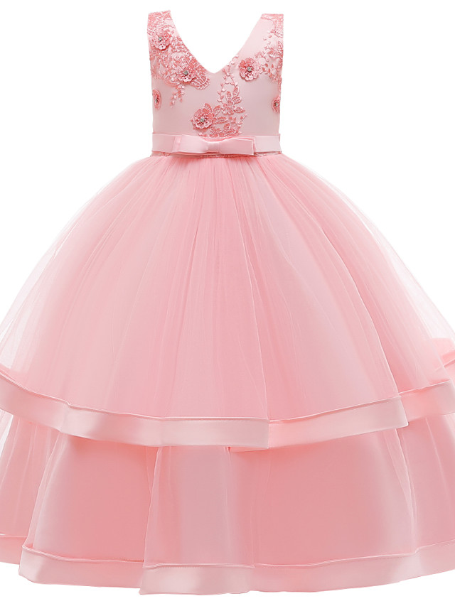 Kids Girls' Active Cute Solid Colored Lace Bow Embroidered Sleeveless Maxi Dress Blushing Pink