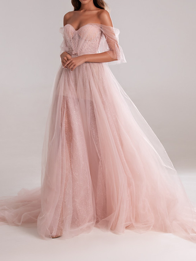 A-Line Elegant Pink Engagement Formal Evening Dress Sweetheart Neckline Sleeveless Court Train Tulle with Bow(s) Pleats 2020