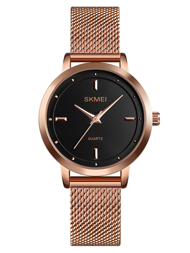 SKMEI Women's Quartz Watches Casual Fashion Black Silver Rose Gold Stainless Steel Chinese Quartz Rose Gold Silver Black Water Resistant / Waterproof New Design Cool 30 m 1 pc Analog One Year Battery