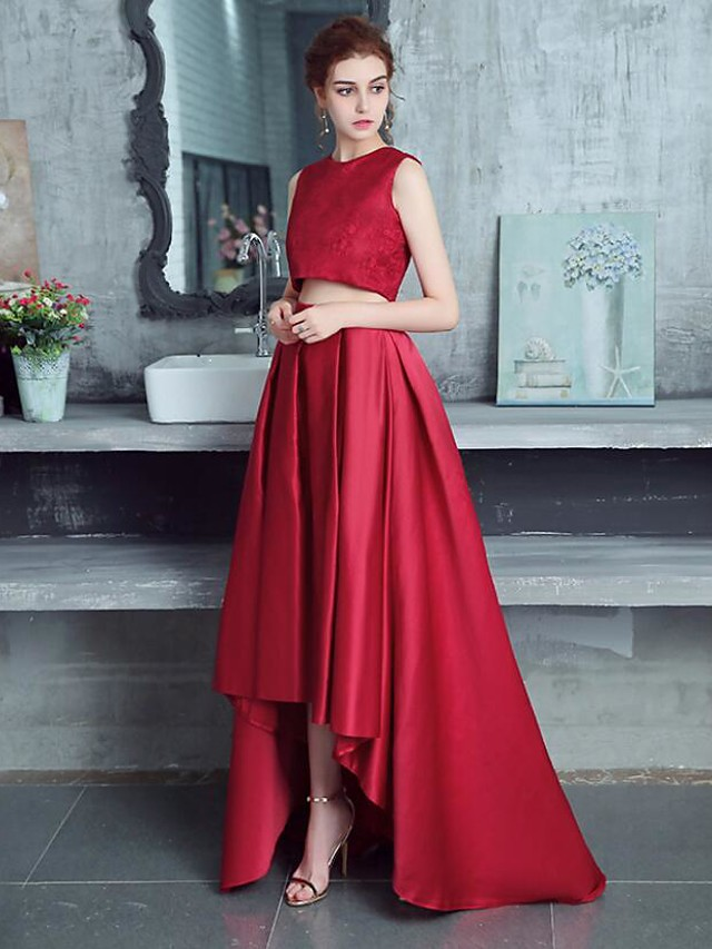 Two Piece Cut Out Red Party Wear Prom Dress Jewel Neck Sleeveless Asymmetrical Lace Polyester with Pleats 2020