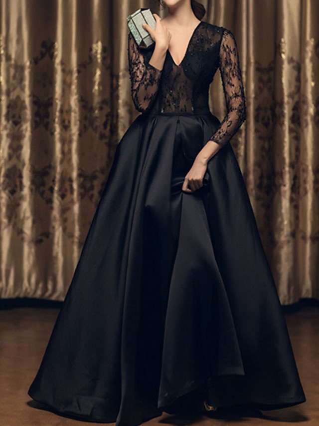 A-Line Wedding Dresses V Neck Floor Length Satin Long Sleeve Beach Black Illusion Sleeve with Lace Insert Embroidery 2020