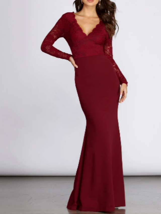 Mermaid / Trumpet Elegant Red Wedding Guest Formal Evening Dress V Neck Long Sleeve Floor Length Lace Polyester with Pleats 2020