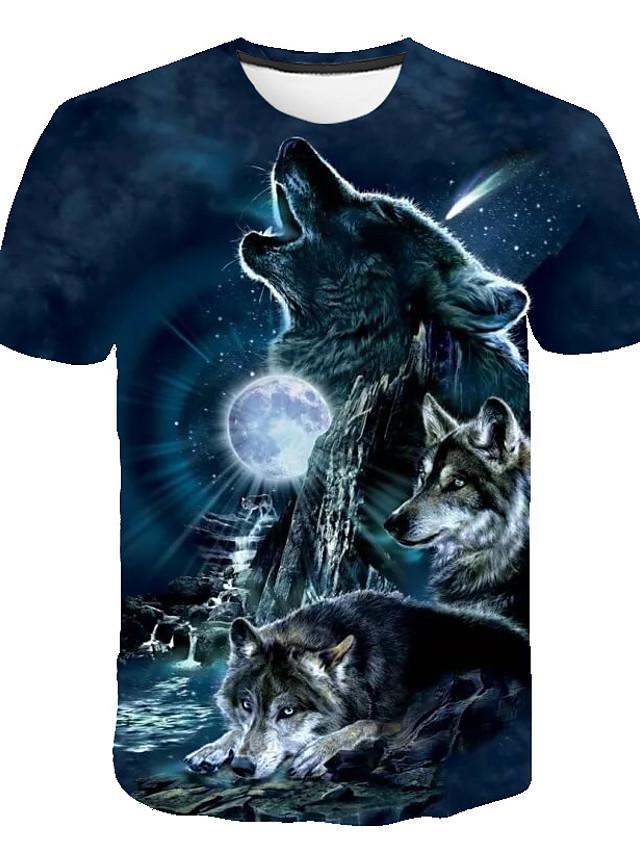 Kids Boys' Basic Street chic Wolf Color Block 3D Animal Print Short Sleeve Tee Light Blue