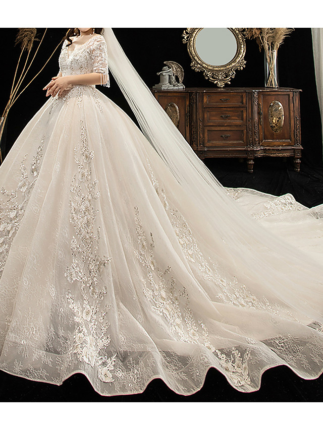 Ball Gown Wedding Dresses V Neck Watteau Train Lace Tulle Half Sleeve Formal Plus Size with Lace Lace Insert 2020