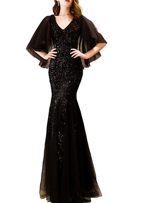 Mermaid / Trumpet Elegant Black Party Wear Prom Dress V Neck Short Sleeve Floor Length Polyester with Sequin Appliques 2020