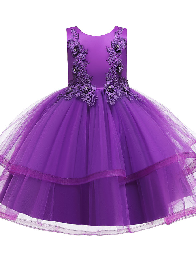 Kids Toddler Girls' Active Cute Floral Solid Colored Beaded Bow Layered Sleeveless Knee-length Dress Wine