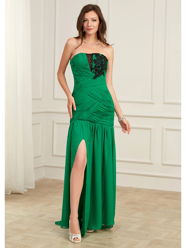 Mermaid / Trumpet Sexy Green Party Wear Formal Evening Dress Strapless Sleeveless Floor Length Chiffon with Ruched Split 2020