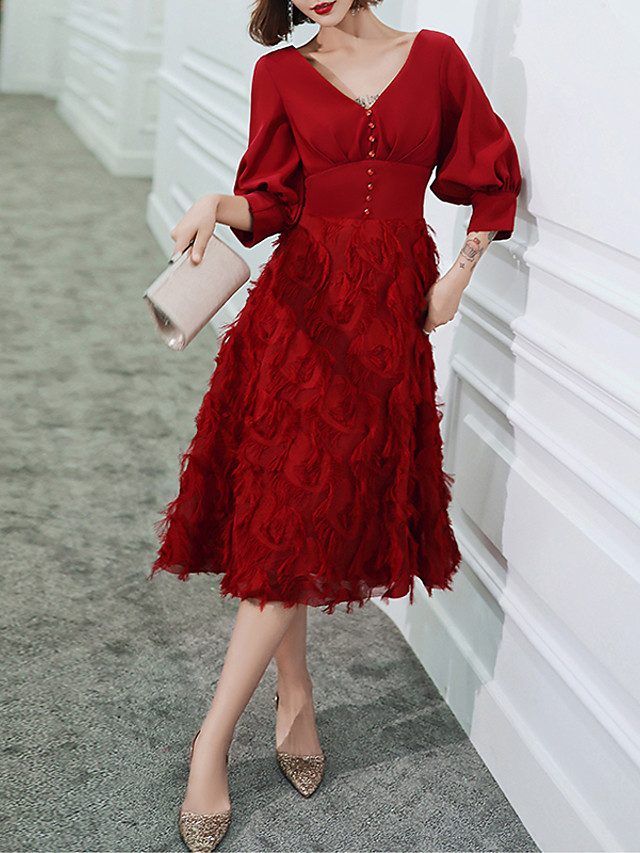 A-Line Minimalist Red Homecoming Prom Dress V Neck Half Sleeve Tea Length Spandex with Beading 2020