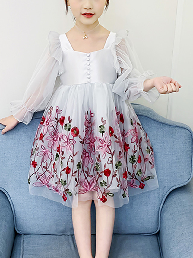Kids Girls' Cute Blue Floral Solid Colored Lace Embroidered Long Sleeve Knee-length Dress Blushing Pink