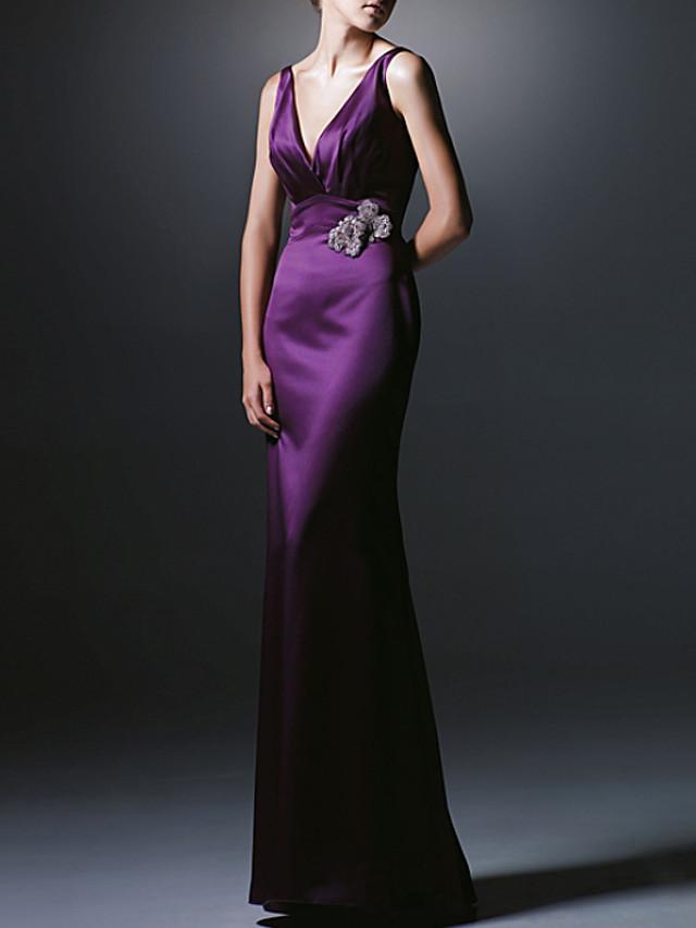 Sheath / Column Sexy Purple Engagement Formal Evening Dress V Neck Sleeveless Floor Length Polyester with Beading 2020