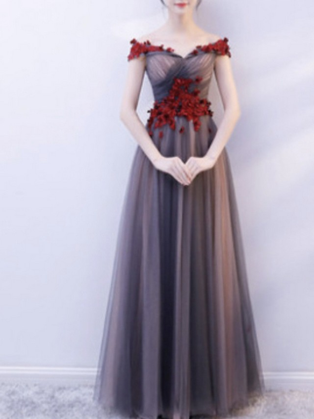 A-Line Color Block Red Prom Formal Evening Dress Off Shoulder Short Sleeve Floor Length Tulle with Appliques 2020
