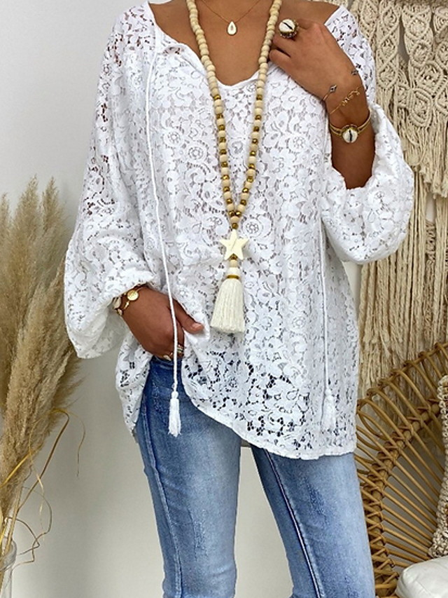 Women's Floral Lace Hollow Out Loose Blouse - Lace Casual Daily V Neck White