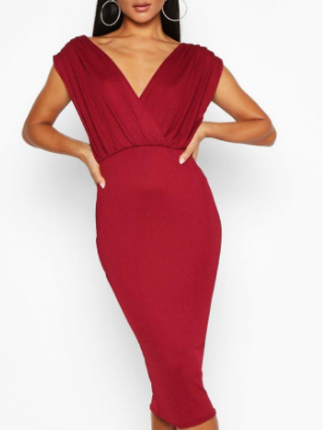 Sheath / Column Elegant Red Wedding Guest Formal Evening Dress V Neck Sleeveless Knee Length Polyester with Draping 2020