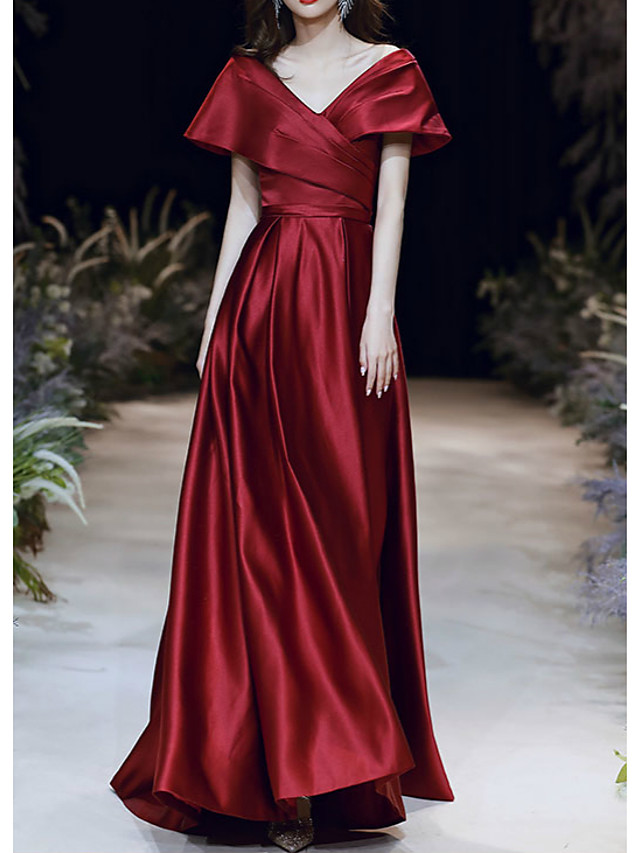A-Line Elegant Red Prom Formal Evening Dress V Neck Short Sleeve Floor Length Satin with Pleats Ruched 2020