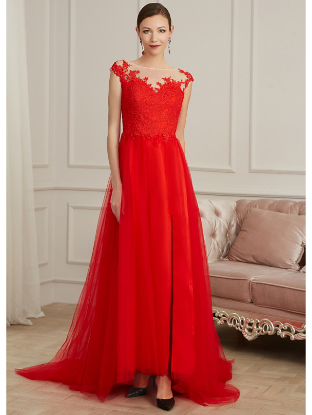 Sheath / Column Elegant Red Engagement Formal Evening Dress Illusion Neck Sleeveless Sweep / Brush Train Lace Tulle with Split Appliques 2020