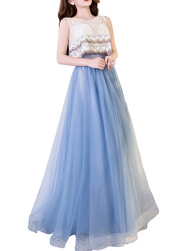 A-Line Empire Blue Wedding Guest Prom Dress Jewel Neck Sleeveless Floor Length Lace Tulle with Ruffles Appliques 2020