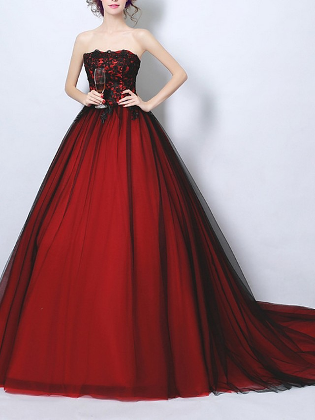 A-Line Luxurious Red Quinceanera Formal Evening Dress Strapless Sleeveless Chapel Train Polyester with Beading Sequin 2020
