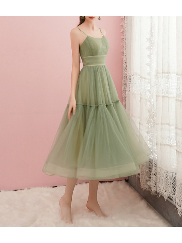 A-Line Green Spring Cocktail Party Prom Dress Spaghetti Strap Sleeveless Tea Length Satin Tulle with Pleats Ruched 2020