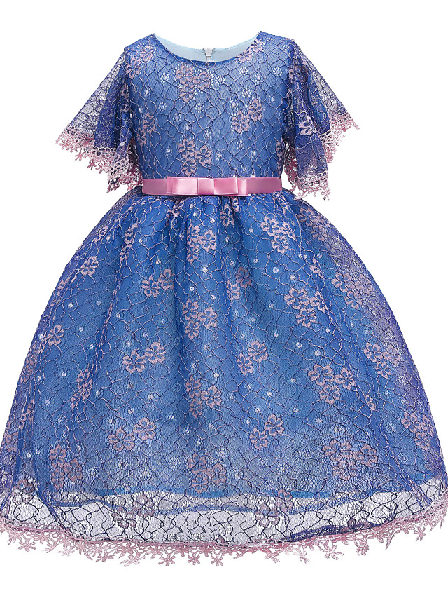 Kids Toddler Girls' Basic Cute Solid Colored Sequins Short Sleeve Knee-length Dress Blushing Pink
