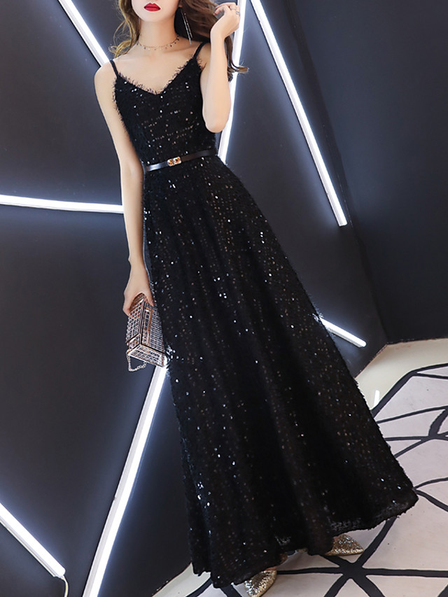 A-Line Glittering Black Prom Formal Evening Dress V Neck Sleeveless Floor Length Sequined with Sash / Ribbon Sequin 2020