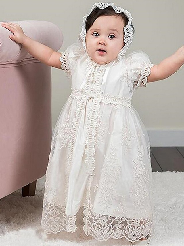 A-Line Floor Length Event / Party Christening Gowns - Polyester Short Sleeve Jewel Neck with Lace / Appliques