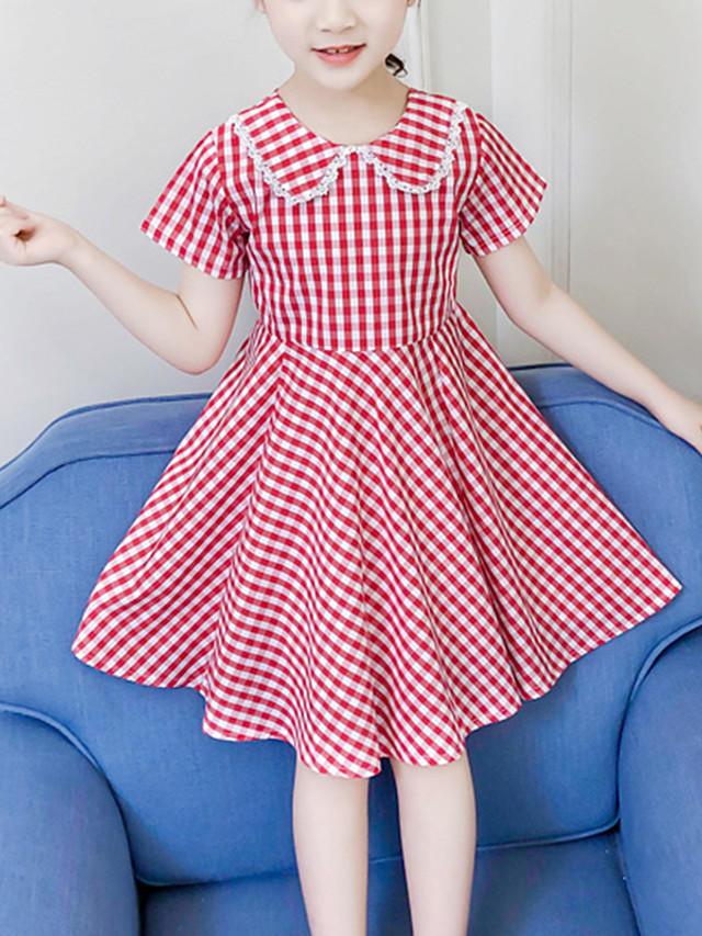 Kids Girls' Active Cute Black Red Check Lace Backless Bow Short Sleeve Above Knee Dress Black